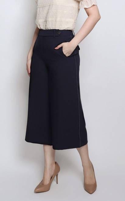 Contrast Stitch Culottes - Navy