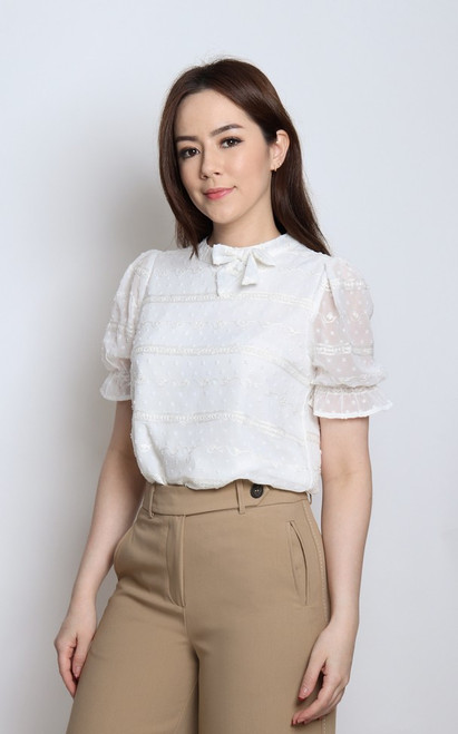Dobby Dot Blouse - White