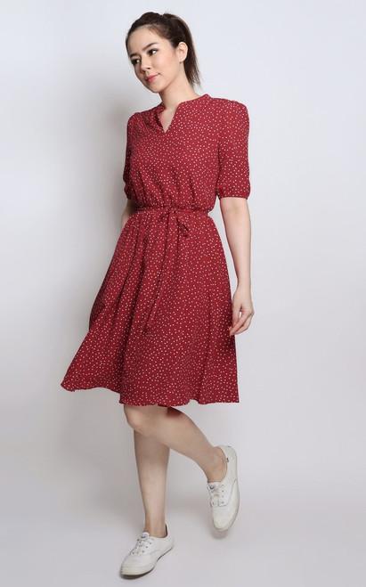 Polka Dot Mandarin Collar Dress - Red