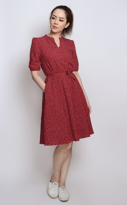 Polka Dot Mandarin Collar Dress - Red