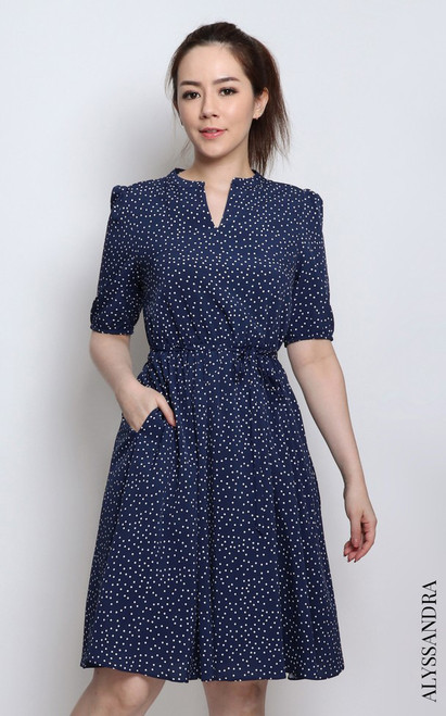 Polka Dot Mandarin Collar Dress - Navy