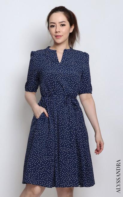 Polka Dot Mandarin Collar Dress - Navy