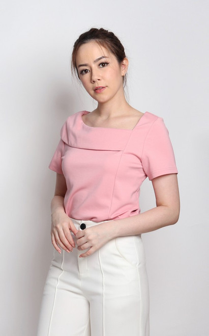 Asymmetrical Boatneck Top - Pink