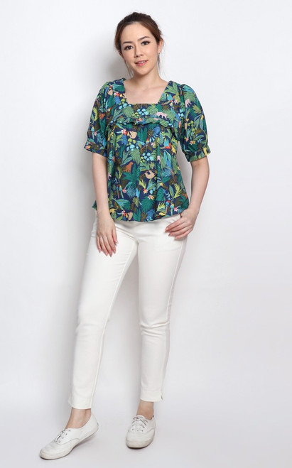 Tropical Paradise Top - Navy