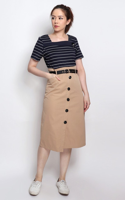 Nautical Faux 2-piece Dress