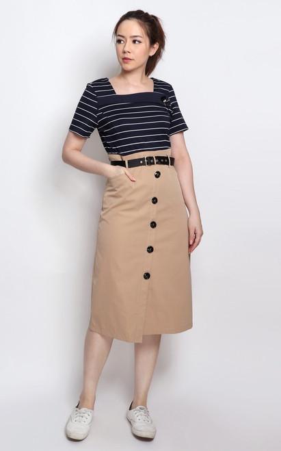 Nautical Faux 2-piece Dress
