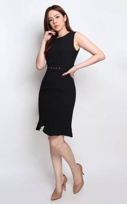 Mermaid Hem Dress - Black