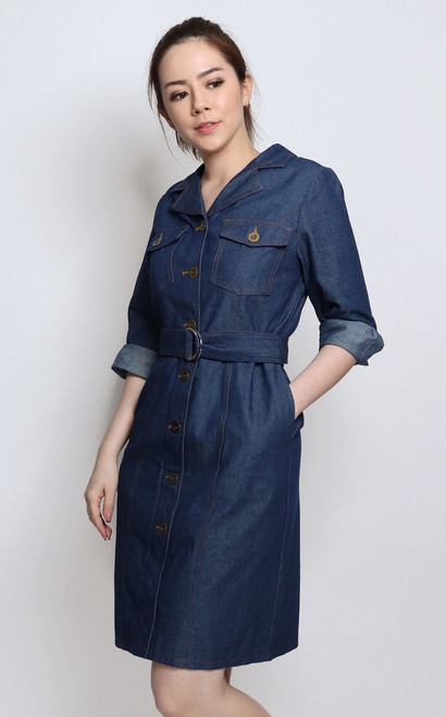 Collared Denim Shirt Dress