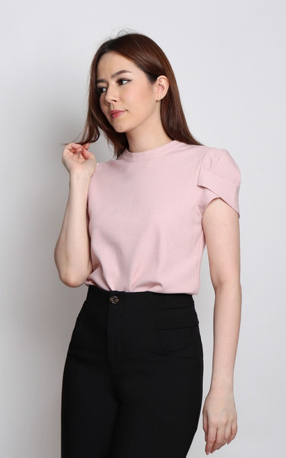 Tulip Puff Sleeves Top - Pink