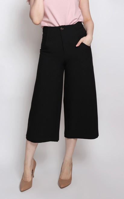 Wide Leg Culottes - Black