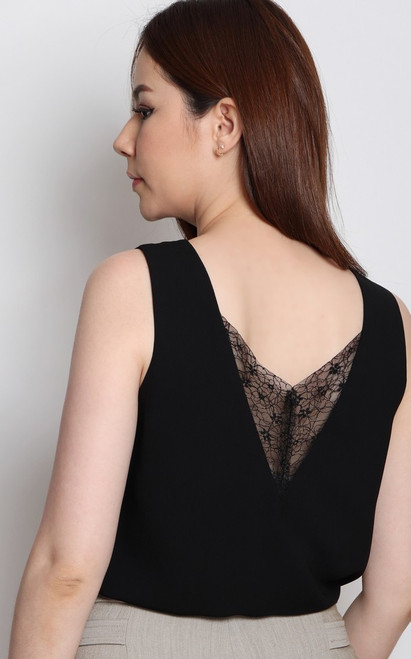 Lace Trim Top - Black