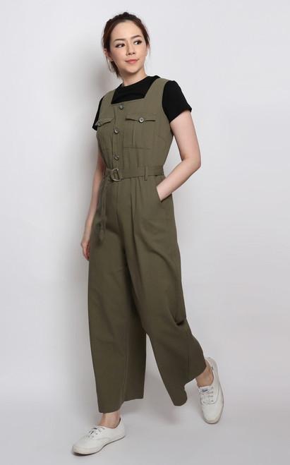 Utility Jumpsuit - Khaki Green