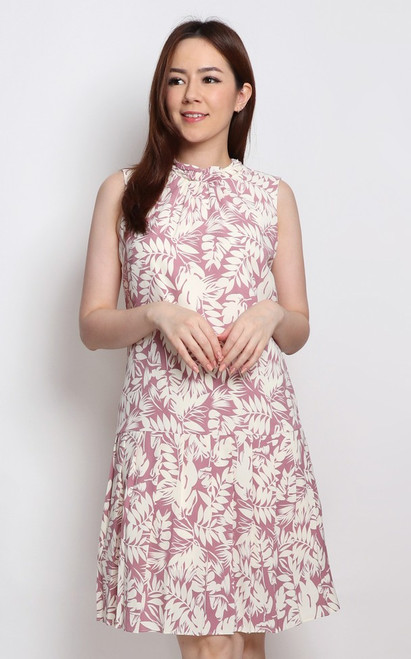 Foliage Print Drop Waist Dress - Lilac