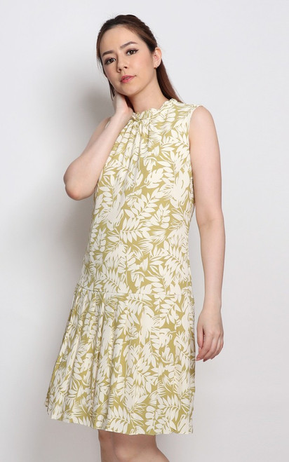 Foliage Print Drop Waist Dress - Moss Green