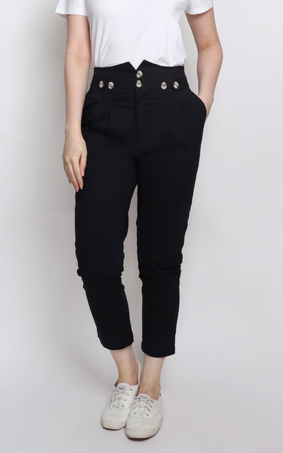 Buttons Tapered Pants - Black