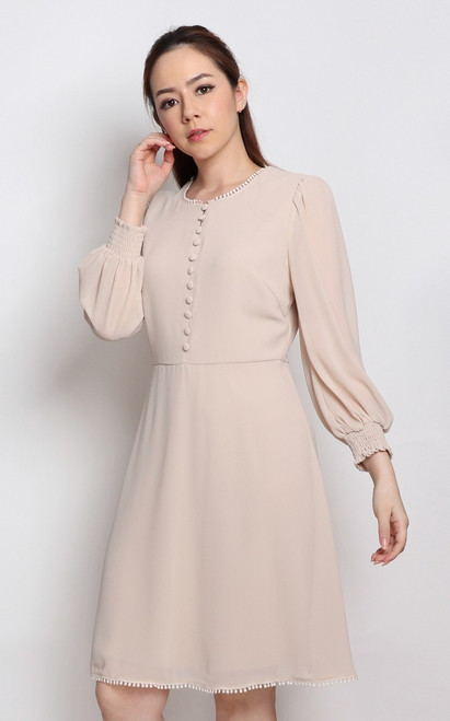 Buttons Chiffon Dress - Cream