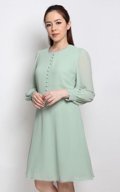 Buttons Chiffon Dress - Sage