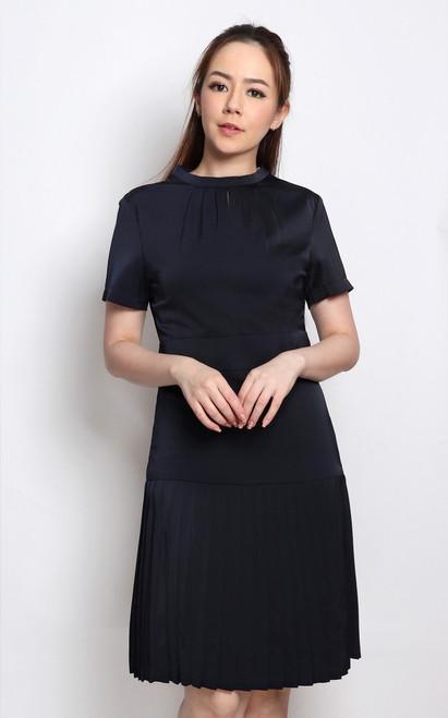 Satin Pleated Dress - Navy
