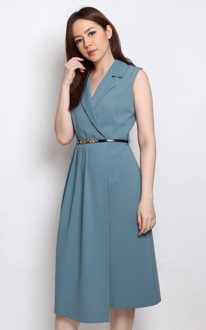 Pleated Tux Dress - Slate Blue