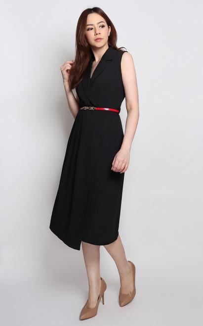 Pleated Tux Dress - Black