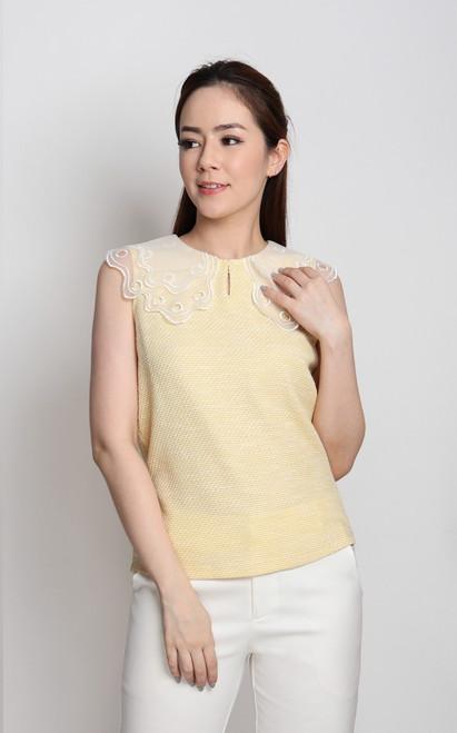 Organza Collar Top - Yellow
