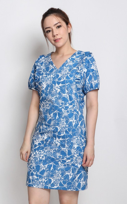 Ruffled Shift Dress - Blue