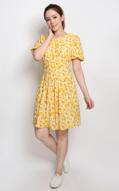 Floral Puff Sleeves Dress - Marigold