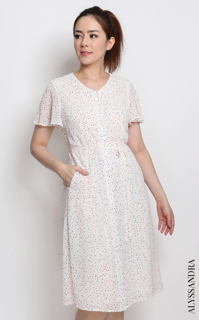 Confetti Print Buttons Dress - White