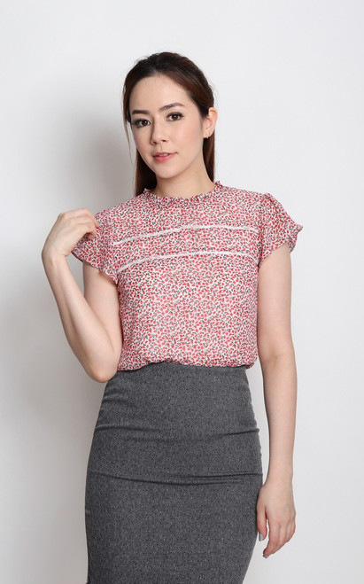 Ditsy Floral Top - White
