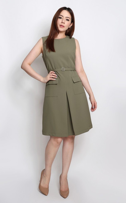 Inverted V Pockets Dress - Sage