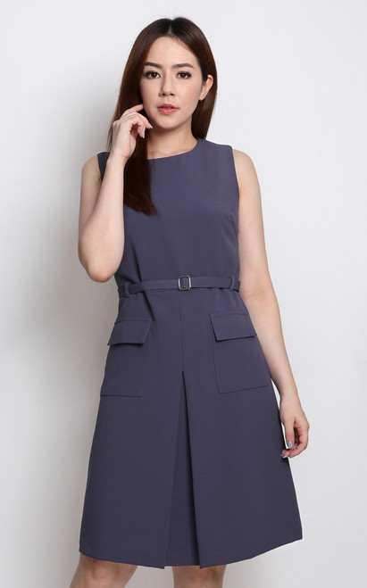 Inverted V Pockets Dress - Wisteria