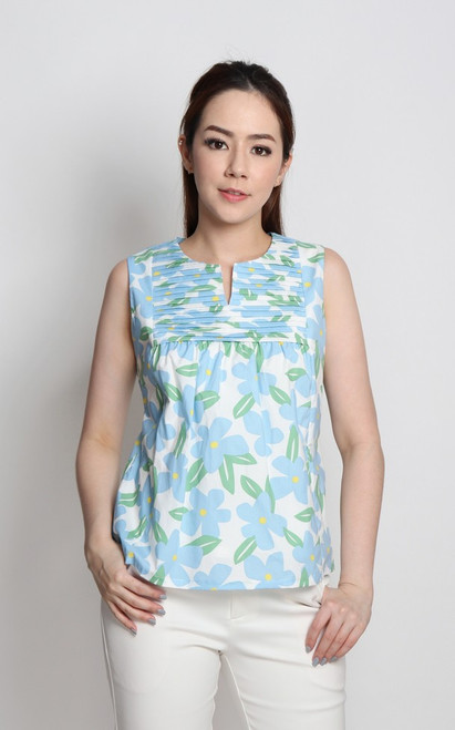 Floral Pleated Bib Top