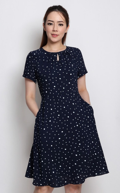 Keyhole Polka Dot Dress - Navy