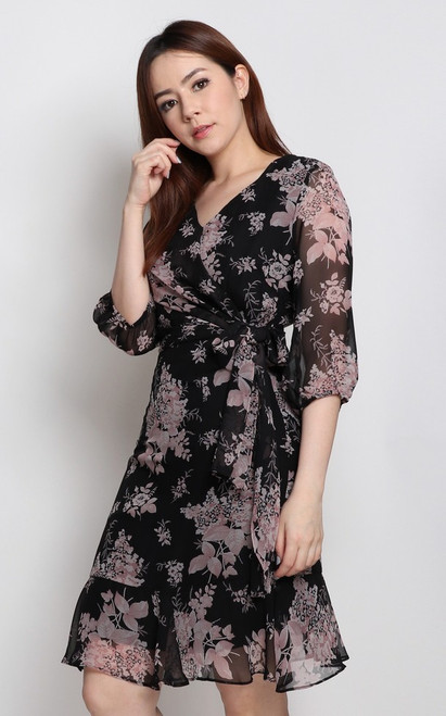 Floral Faux Wrap Dress - Black
