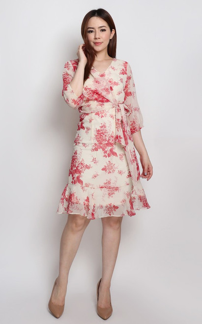 Floral Faux Wrap Dress - Cream