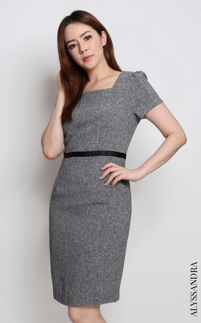 Square Neck Pencil Dress - Grey