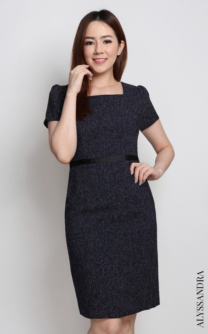Square Neck Pencil Dress - Navy