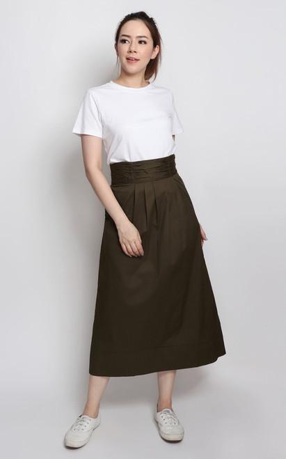 Ruched Waist Midi Skirt - Olive