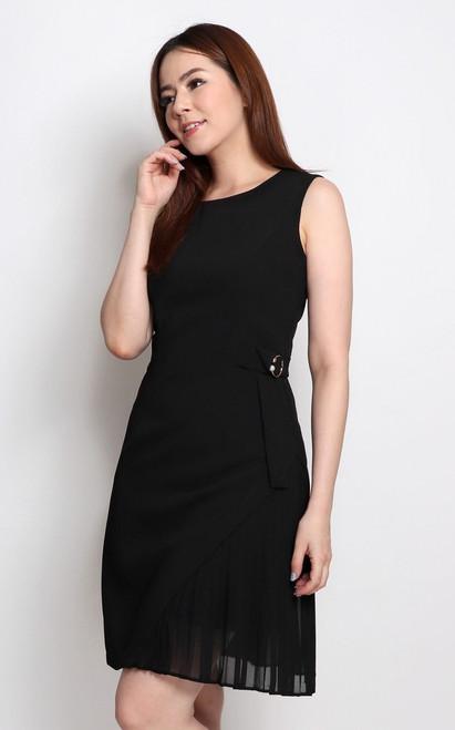 Side Pleated Dress - Black