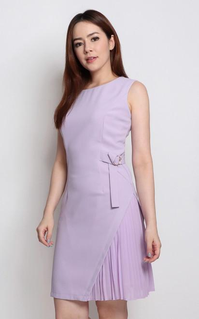 Side Pleated Dress - Lilac