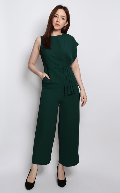 Asymmetrical Origami Jumpsuit - Forest Green