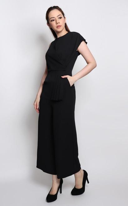 Asymmetrical Origami Jumpsuit - Black