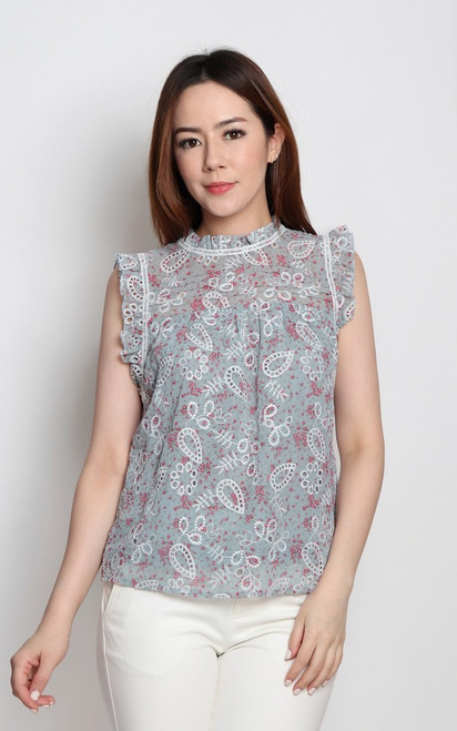 Embroidered Floral Ruffle Top - Dusty Sage