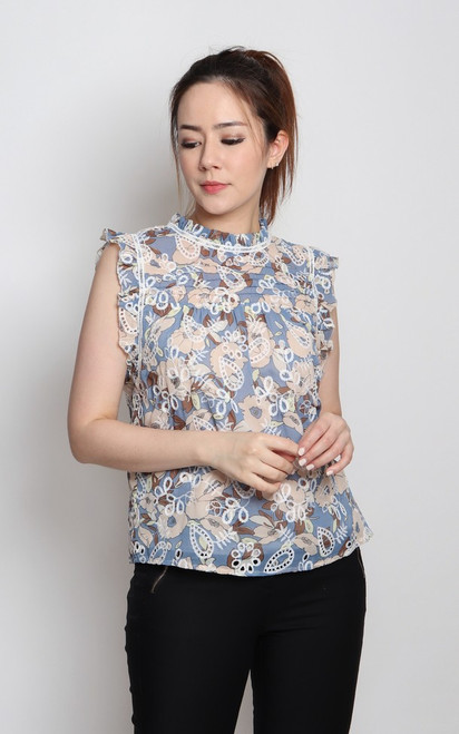 Embroidered Floral Ruffle Top - Blue