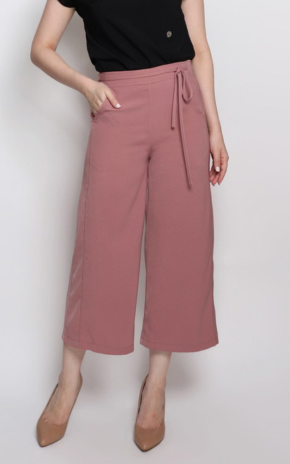 Ribbon Tie Culottes - Muted Rose