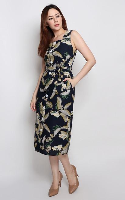 Leaf Print Midi Dress - Navy