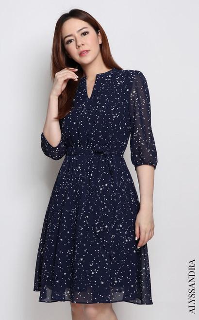 Mandarin Collar Chiffon Dress - Starry Night