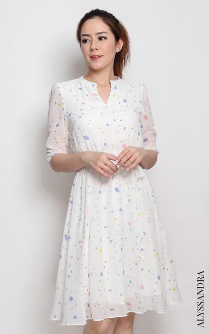 Mandarin Collar Chiffon Dress - Terrazzo
