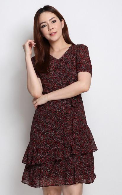 Ditsy Floral Ruffle Hem Dress - Red