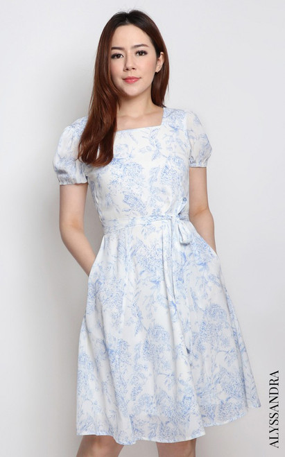 Toile Print Square Neck Dress - Blue